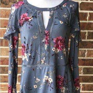 WHBM Gray Floral long sleeve Blouse.